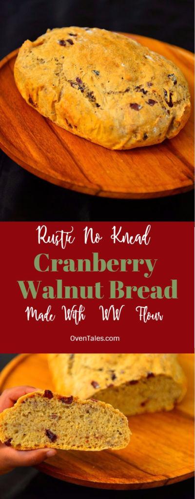 Cranberry Walnut No Knead Bread