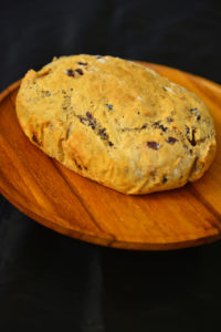 A savory Knead Bread with cranberries and walnuts