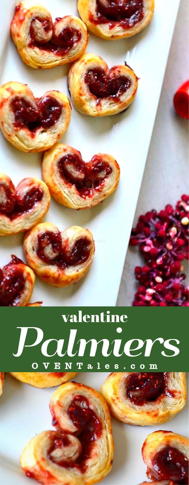 Valentine Palmiers - Cruchy heart shaped cookies filled with jam