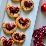 Palmiers on a white Plate captioned 'Valentine Palmiers'.