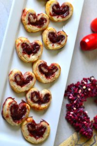 Valentine Palmiers - Crunchy heart shaped cookies filled with jam
