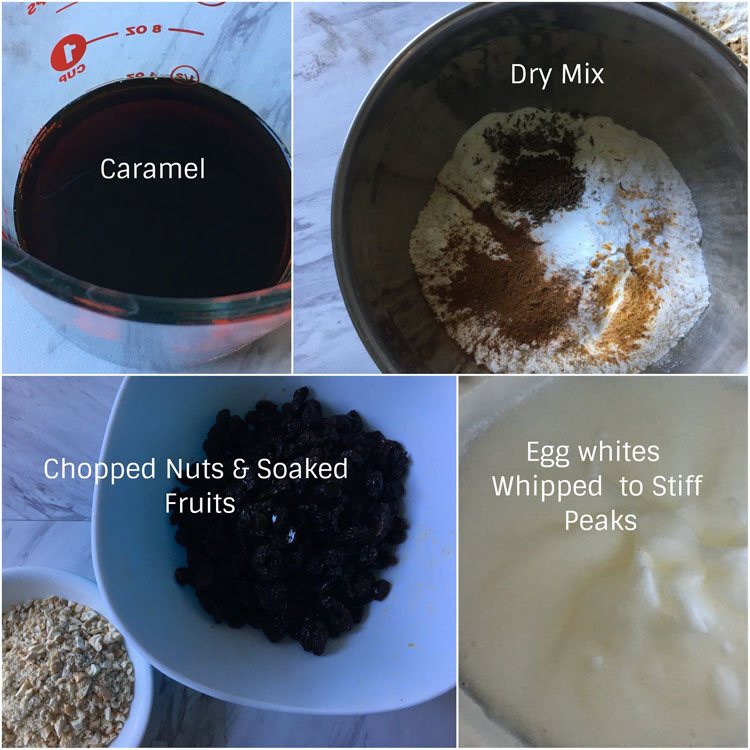 A collage of ingredients used in making fruit cake