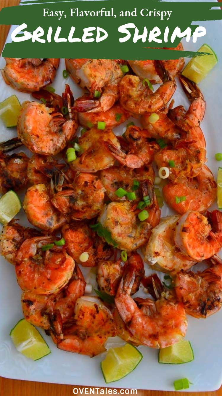 Easy Grilled Shrimp flavored with lemon, garlic parsley and a few chili flakes