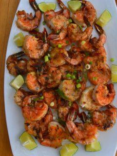 Crispy Grilled shrimp on a platter