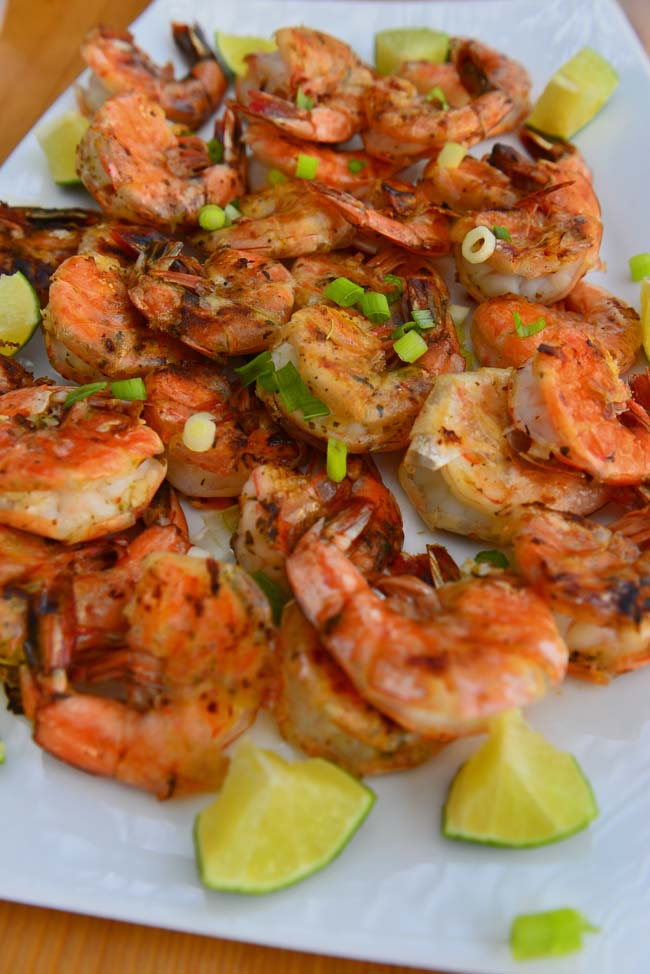 Easy grilled shrimp on a platter