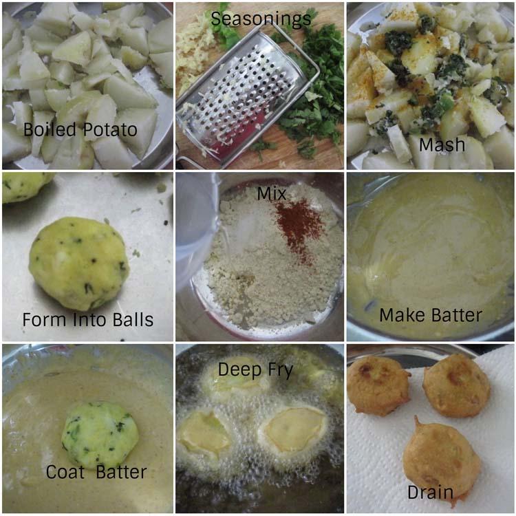 making batata vada - or potato fritter