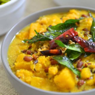 Pumpkin and beans in a mild coconut curry