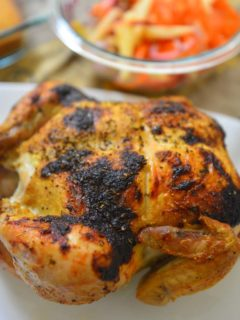 Garlic roast chicken with crispy brown skin and juicy tender meat