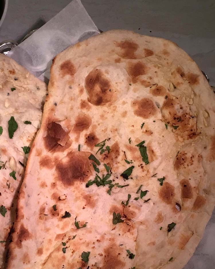 Naan with garlic and cilantro