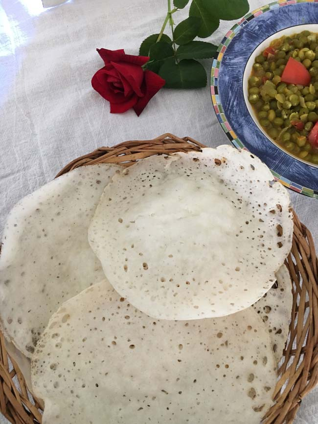 Palappam , the lacy pancakes from Kerala made with fermented rice batter