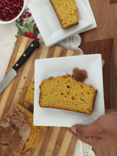 Slices of pumpkin loaf on a plates