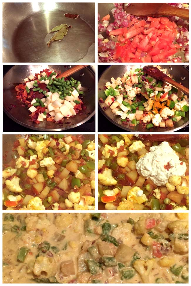 Making South Indian style vegetable Kurma