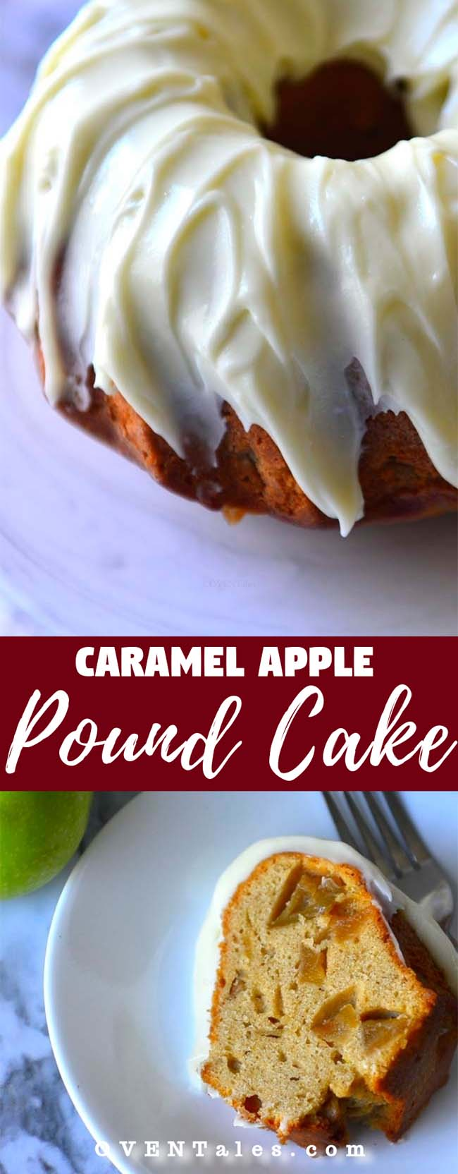 Caramel Apple Pound Cake with tangy cream cheese glaze