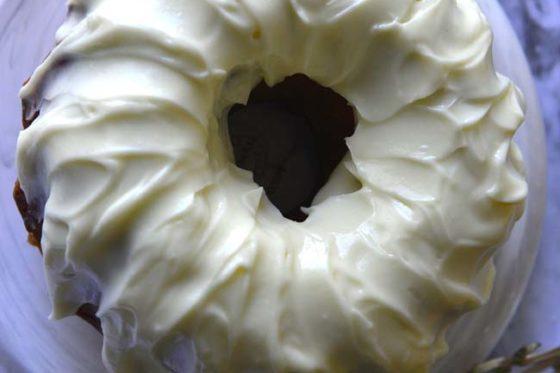 Caramel Apple Pound Cake with tangy cream cheese glaze