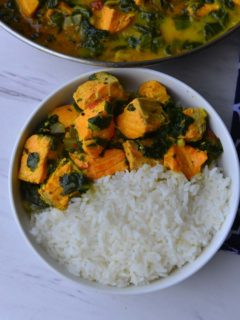 Curried Salmon with Spinach