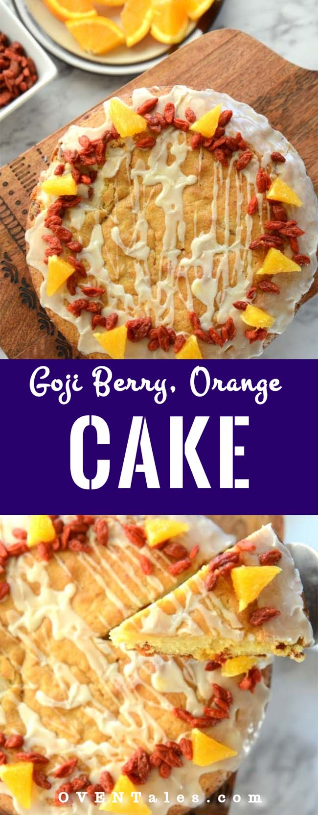 A delicious, moist citrus cake with the goodness of goji berries