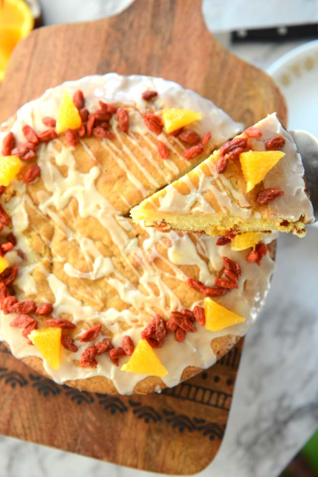 A delicious citrus cake with the goodness of goji berries