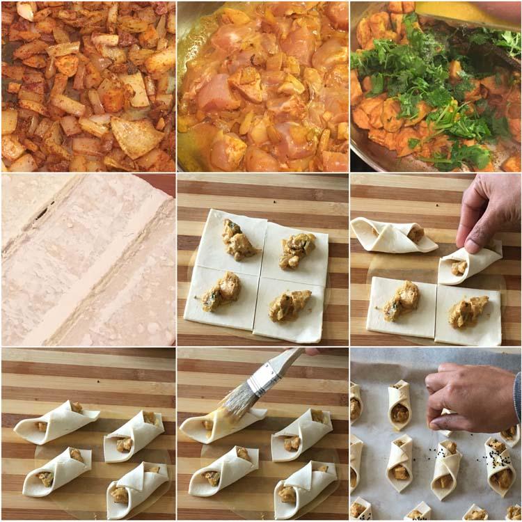 Making Two Bite Curried Chicken Puffs
