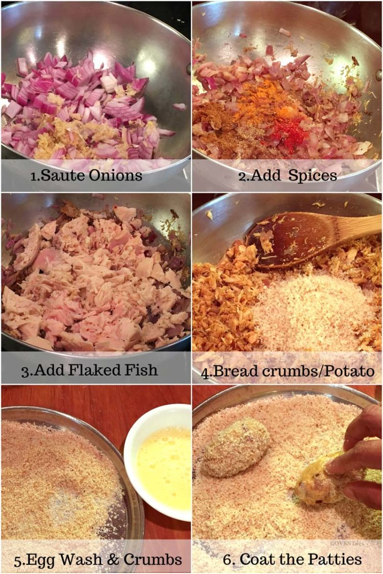 Collage of pictures showing steps to making tuna cutlets
