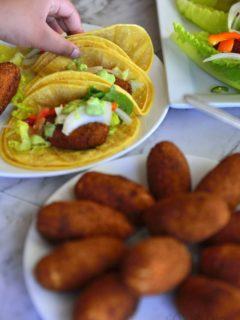 Tuna cutlets and a tacos made with them.
