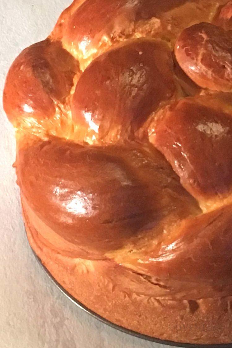 Side  view of Ukranian Paska loaf.