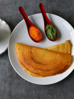 Plain Dosa - The south Indian savory crepes made with Rice and Lentil