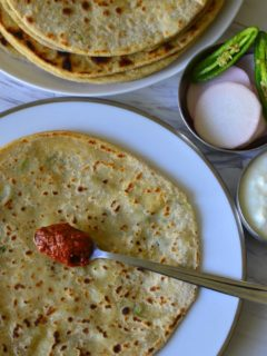 Aloo Paratha or Potato Stuffed Whole Wheat Flat Bread