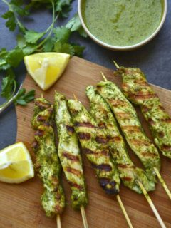 tender chicken skewers marinated in cilatro and lime marinade and grilled