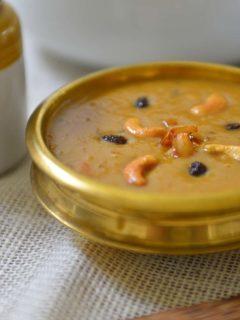 Parippu Payasam - A dessert made with mung beans , jaggery and coconut milk