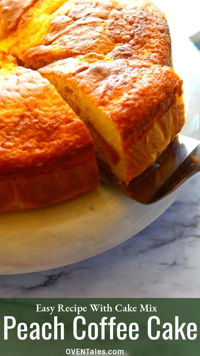 fresh Peach cake made with boxed cake mix