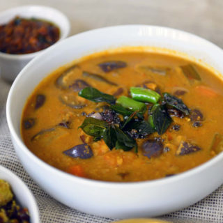 Varutharacha Sambar - A vegetable and lentil dish made with roasted spices and tamarind