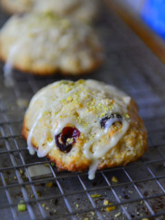 Cranberry Orange Scones on a cooling rack