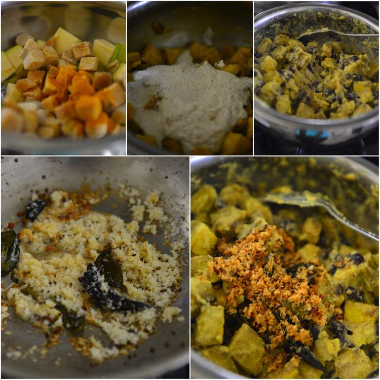 Making Koottu Curry - Vegetable and Chick Pea Dish