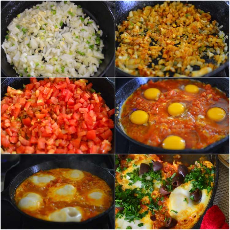 Making Shakshuka - poached Eggs in tomato sauce