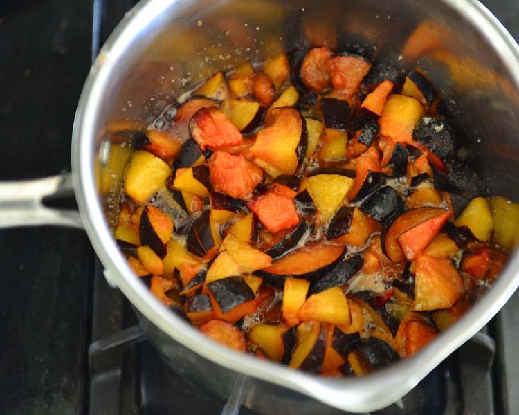 Spiced Plum Chutney - plums stewing