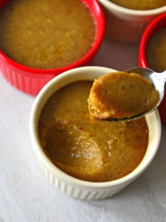 Wattalappam in ramekins. A scoop of wattalappam in a spoon.