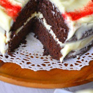 Old fashioned Mahogany cake - chocolate and coffee velvet cake