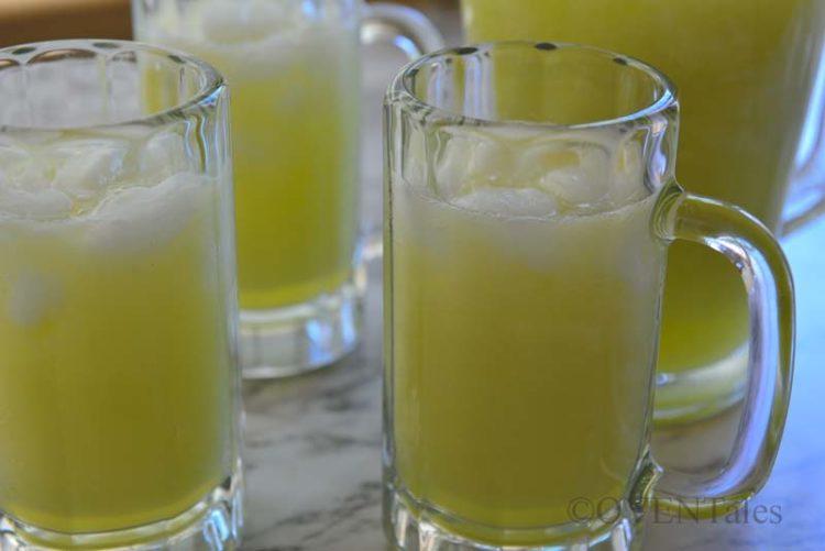 Golden Melon Agua Fresca in mugs.