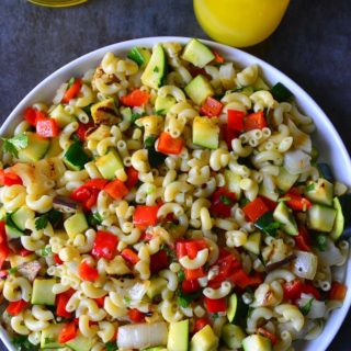 Grilled Vegetable Pasta Salad on a plate