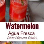 Pouring watermelon agua fresca into cups. Image for Pinning.