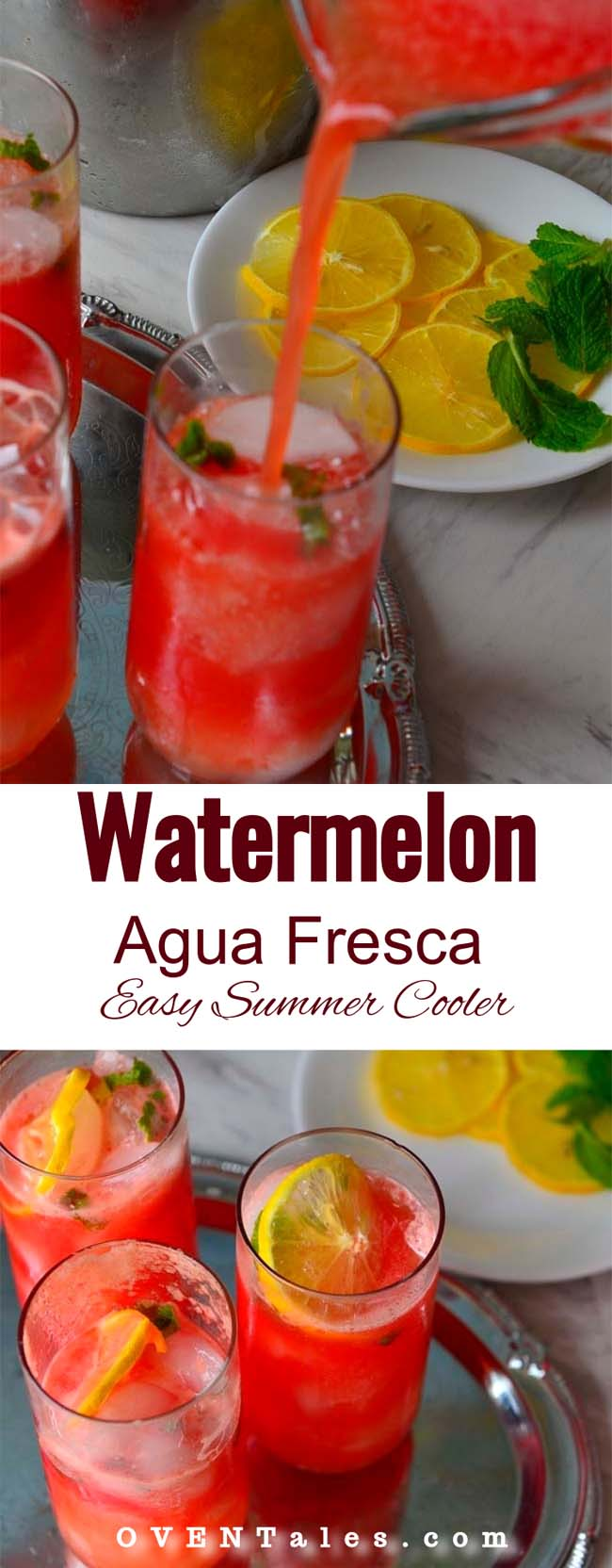 Watermelon Agua Fresca -  A  refreshing  summer drink with watermelon flavors