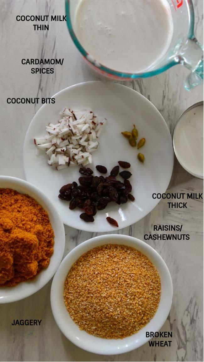 Broken wheat payasam or gothambu pradhaman ingredients