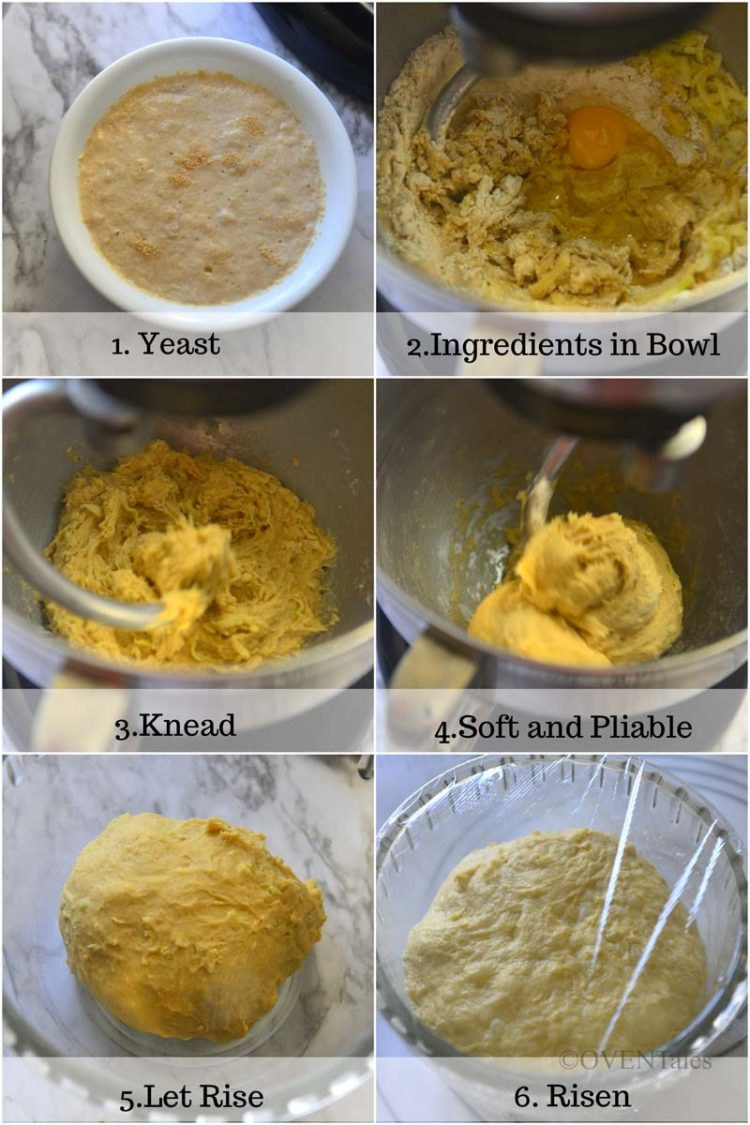 Collage of process of creating the bread dough.