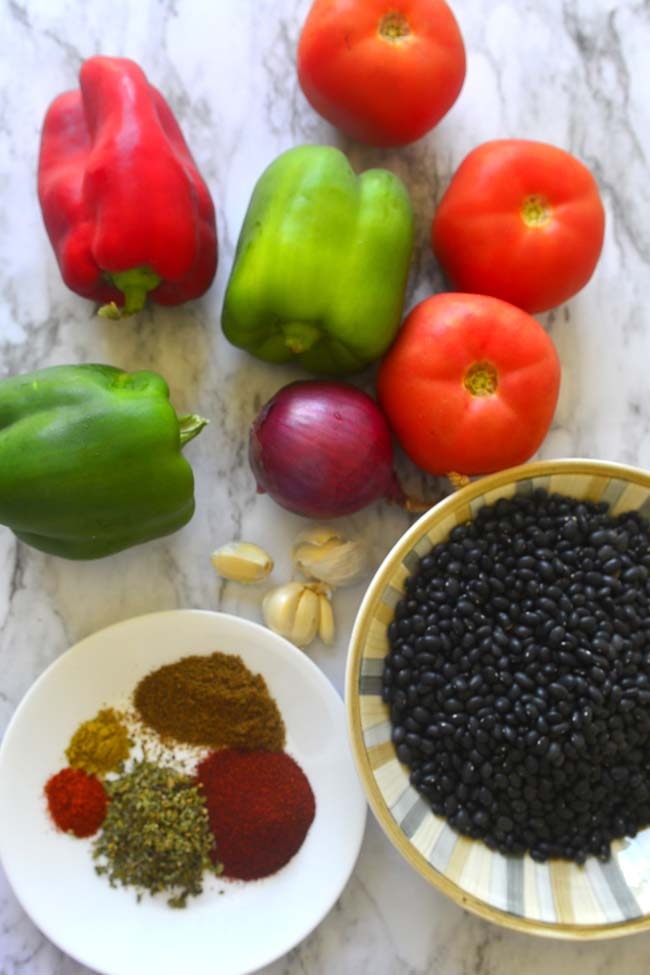 All that goes into a delicious black bean chili