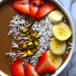 Fruit And Chocolate Smoothie Bowl With Barleans Silk Greens