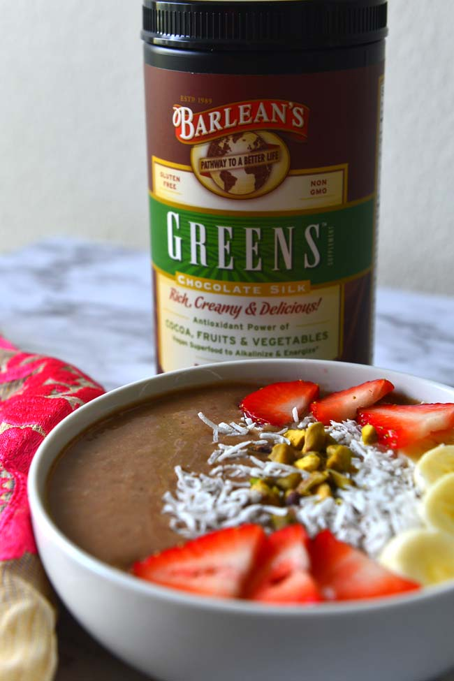 Fruit And Chocolate Smoothie With Barleans Silk Greens