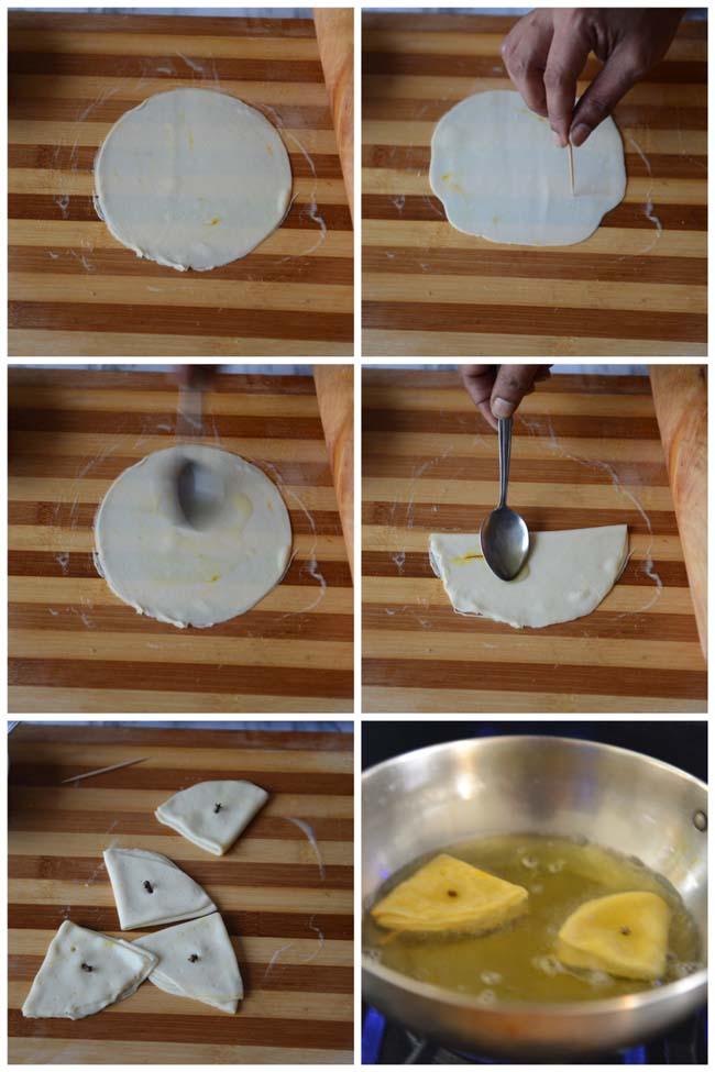 Frying Badam Puri