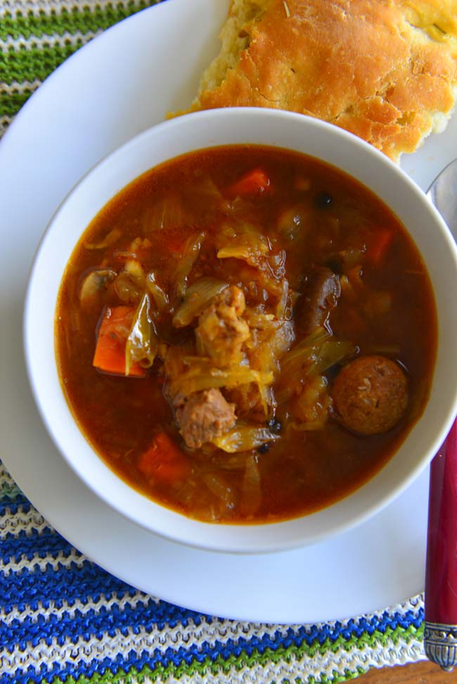 A bowl of Bigos - the delicious hunter's stew from Poland, made with assorted meats and sauerkraut