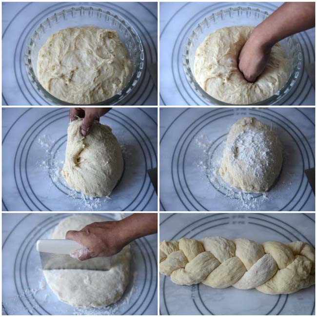 Shaping no knead challah
