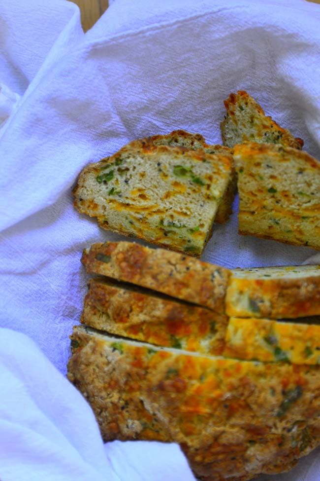 A savory quick bread - Cheddar and green onions soda bread
